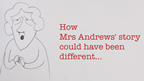 Screen grab of new Mrs Andrews\' video