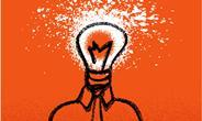 Illustration showing man with lightbulb for head