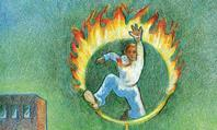 Illustration showing man jumping through burning hopp
