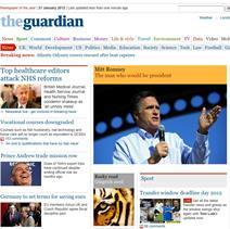 Guardian homepage on HSJ