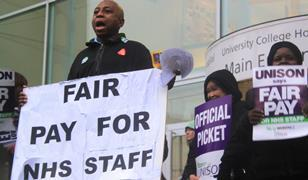 NHS staff on picket line