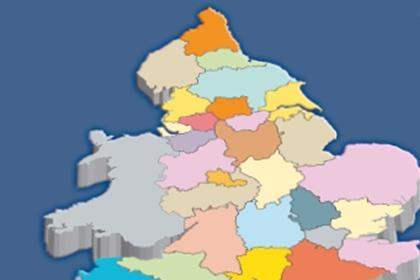 Sub regional map of England